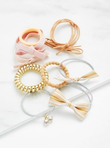 Coil & Knotted Hair Tie 10pcs With Mesh Bag