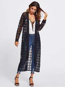 Plaid Mesh Longline Kimono