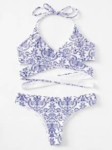 Porcelain Print Wrap Bikini Set