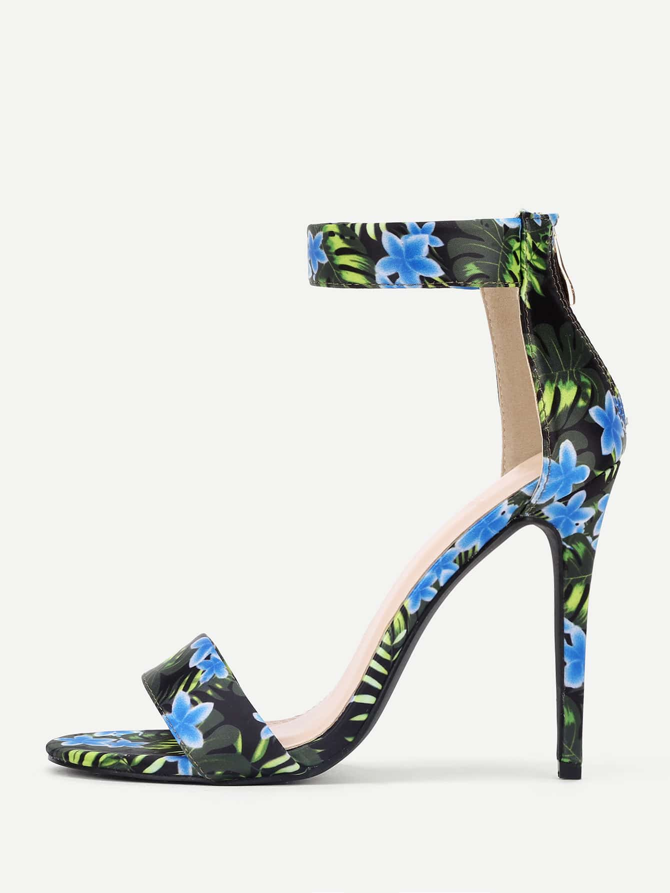 Flower Print Two Part Stiletto Heeled Sandals