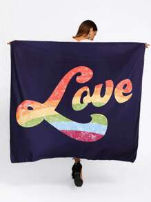 Color Block Slogan Print Tapestry