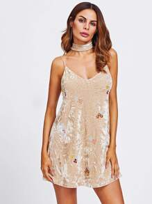 Embroidery Crushed Velvet Cami Dress With Neck Tie