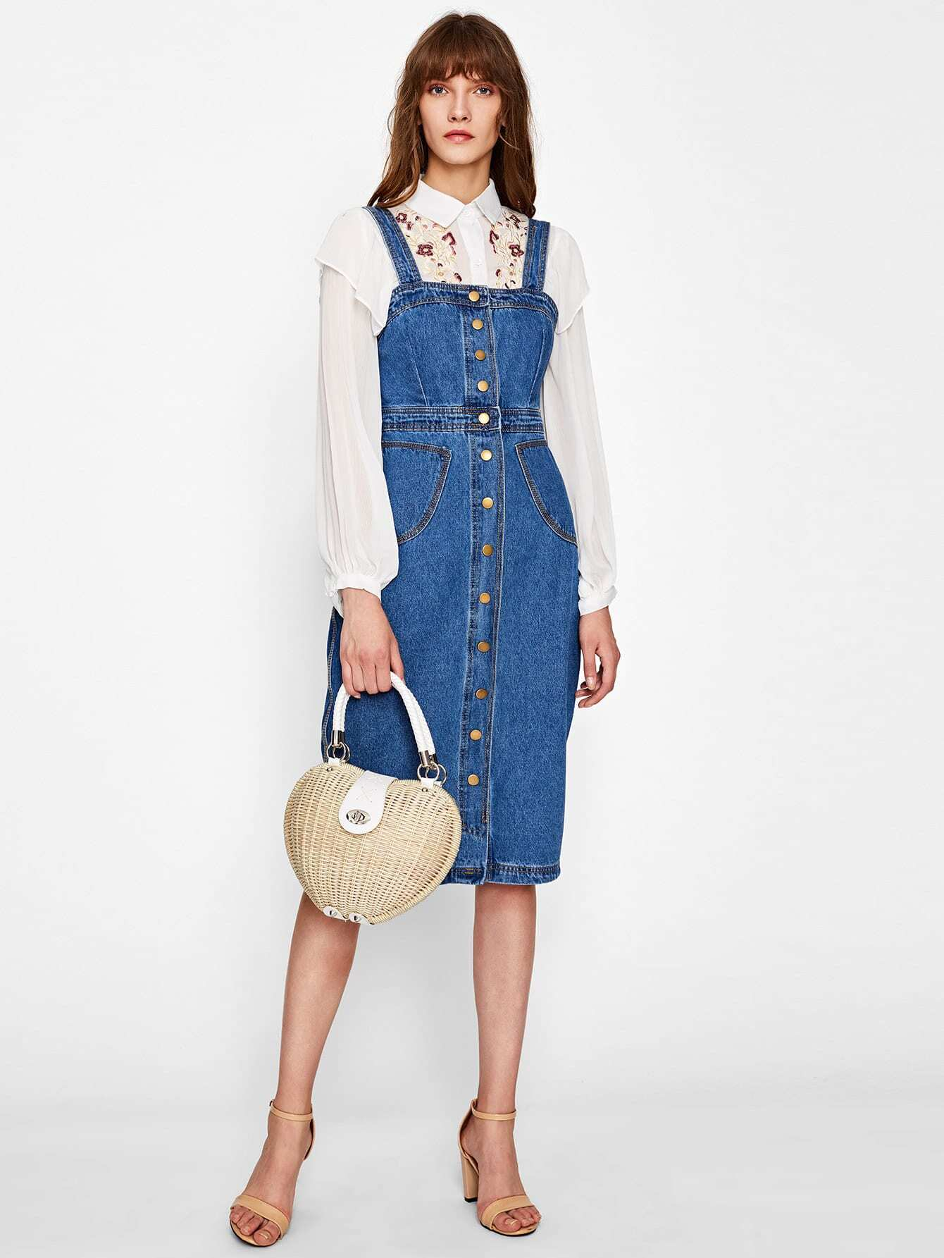 Image of Button Front Strap Denim Overall Dress