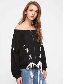 Grommet Lace Up Bardot Jacket