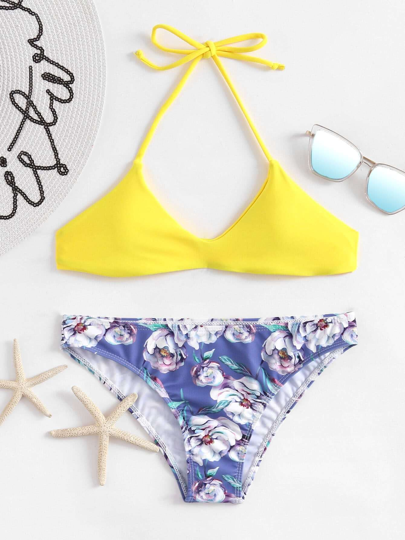 Calico Print Halter Bikini Set swimwear170809302