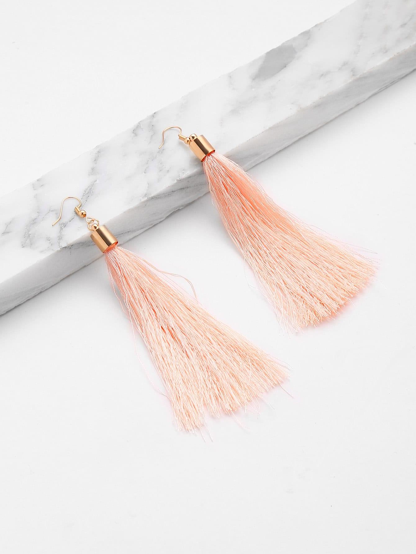 Cute Tassel Drop Earrings silver plated strip tassel drop earrings