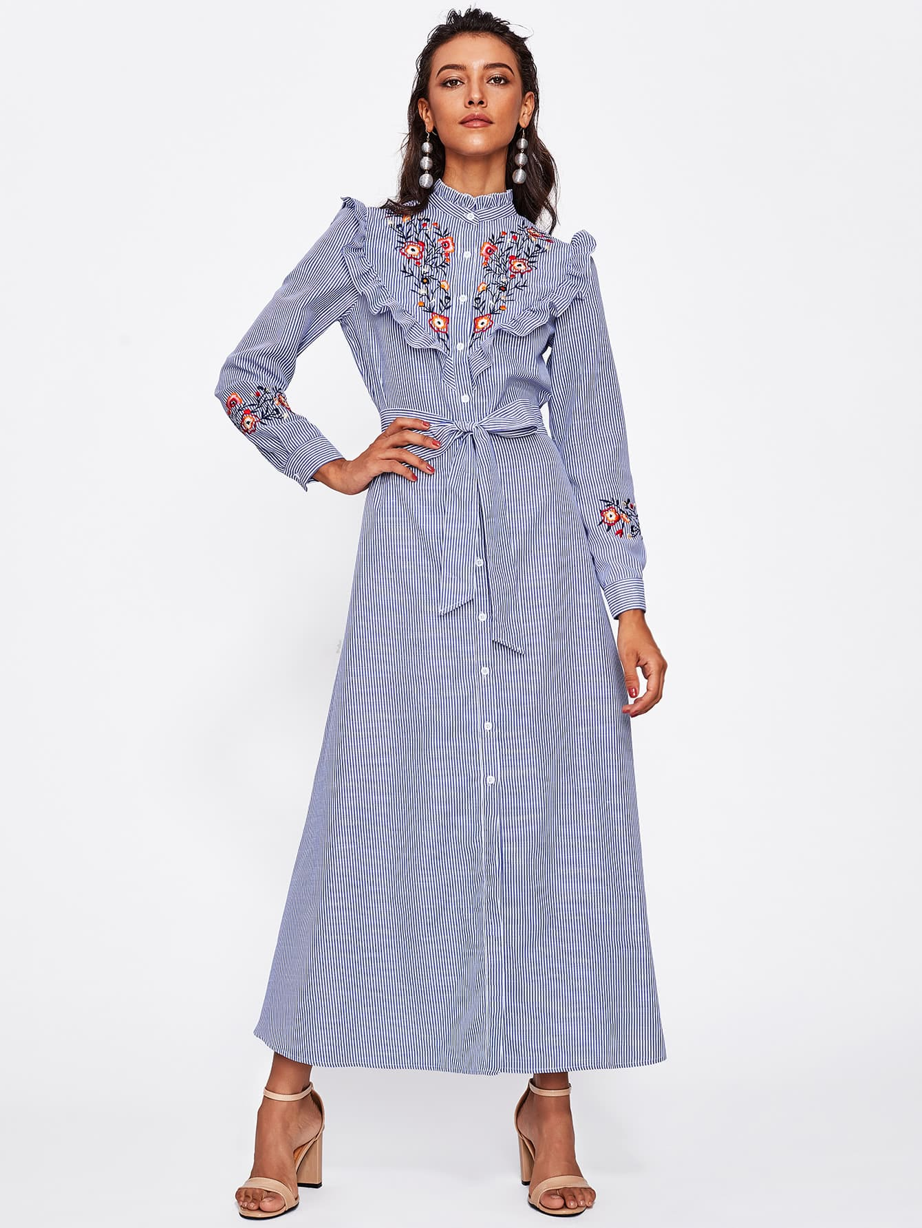 Self Belted Frill Trim Embroidered Pinstripe Shirt Dress eyelet embroidered self belted dress