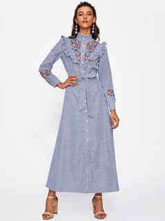 Self Belted Frill Trim Embroidered Pinstripe Shirt Dress