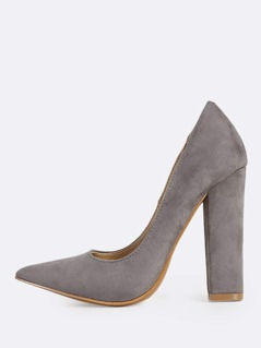 Point Toe Faux Suede Heels GREY