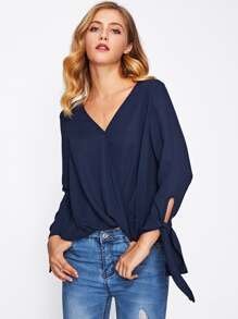 Self Tie Sleeve Wrap Blouse