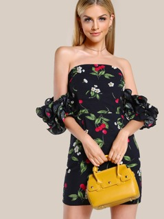 Layered Lettuce Hem Ruffle Sleeve Dress