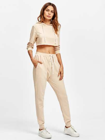 Raw Hem Crop Hoodie With Sweatpants