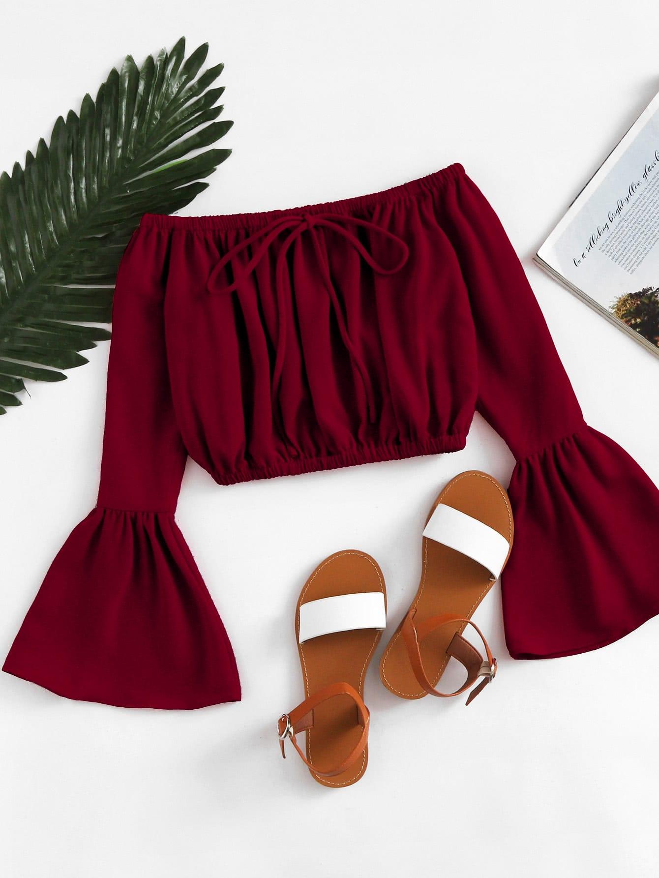 Купить Отпускнойстиль Одноцветный Кайма Бордовый Блузы+рубашки, null, SheIn