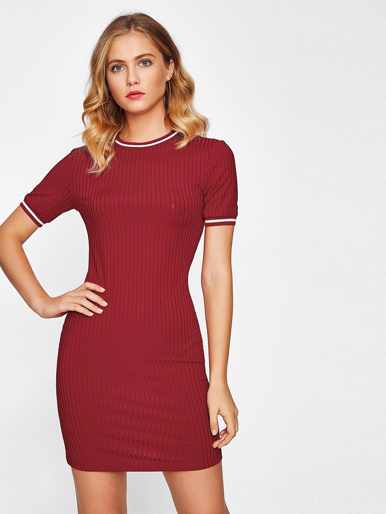 Striped Trim Rib Knit Dress dress170822709