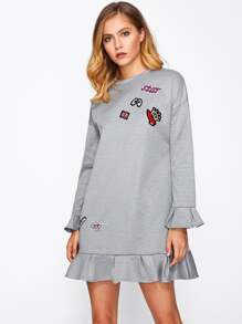 Patch Detail Frill Cuff And Hem Sweatshirt Dress