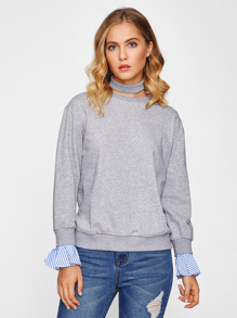 Striped Ruffle Cuff Heather Knit Pullover pictures
