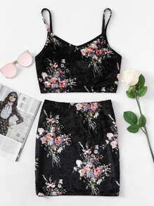 Zip Back Floral Velvet Crop Cami And Skirt Set