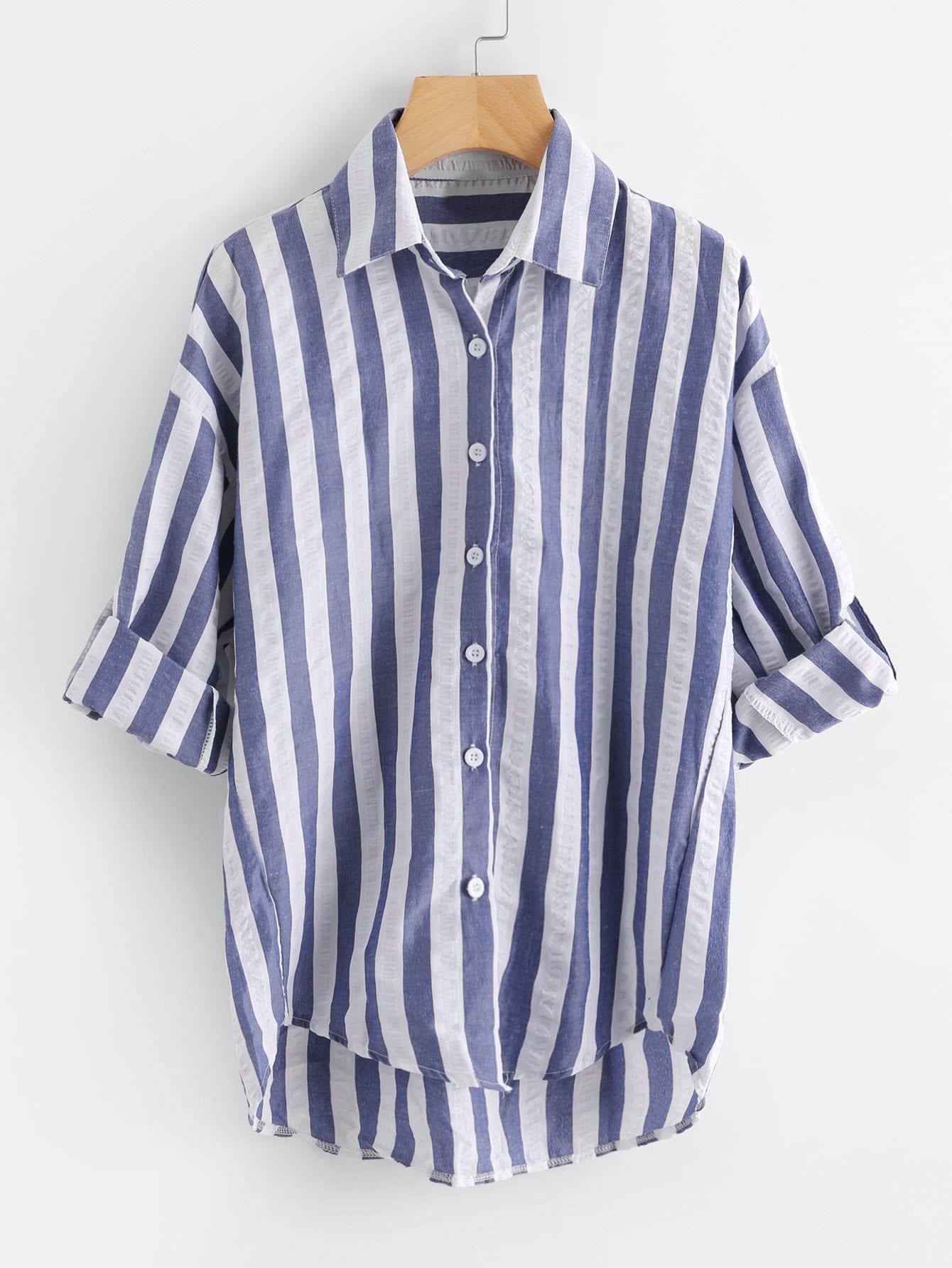 Contrast Striped Drop Shoulder Rolled Sleeve Shirt drop shoulder contrast faux fur sleeve sweatshirt