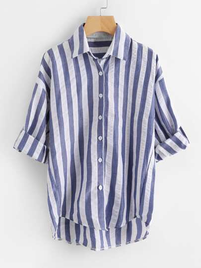 Contrast Striped Drop Shoulder Rolled Sleeve Shirt