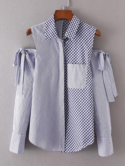Contrast Open Shoulder Bow Tie Detail Blouse
