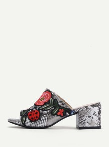 Flower Embroidery Snakeskin Print PU Mule Sandals