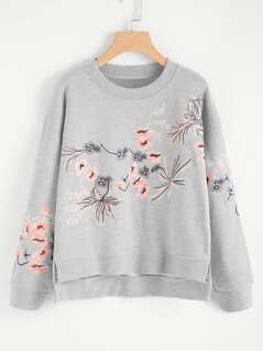 Stepped Hem Heather Knit Embroidered Pullover