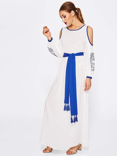 Contrast Binding Open Shoulder Dress With Tasseled Sash Tie