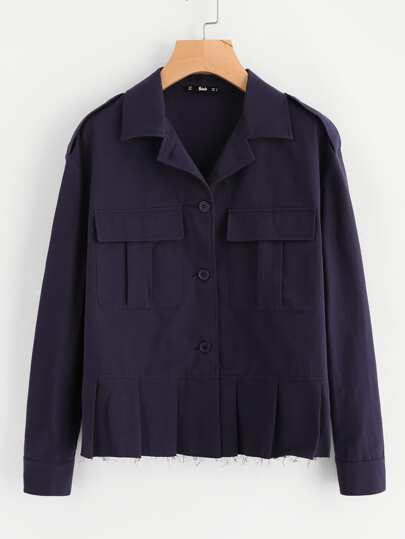 Pleated Hem Pocket Front Buttoned Jacket
