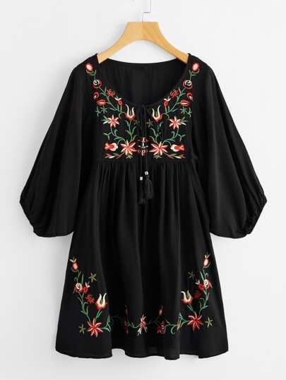 Tasseled Tie Neck Lantern Sleeve Embroidered Smock Dress