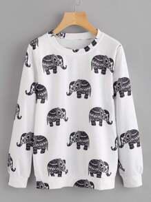 Elephant Print Random Sweatshirt