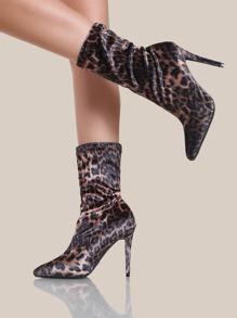 Leopard Print Stretch Heels LEOPARD