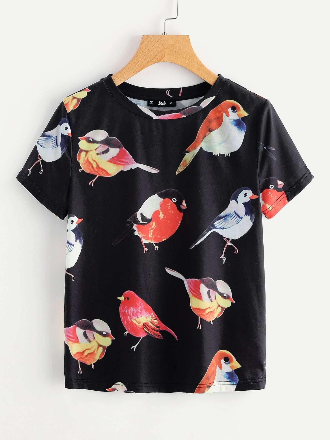 Allover Birds Print Tee
