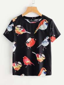 Allover Birds Print Tee