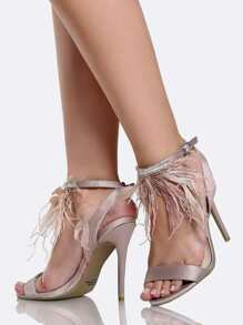 Feather Single Band Heels NUDE