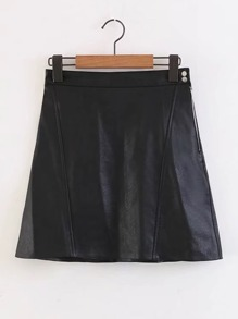 Zipper Side PU A Line Skirt