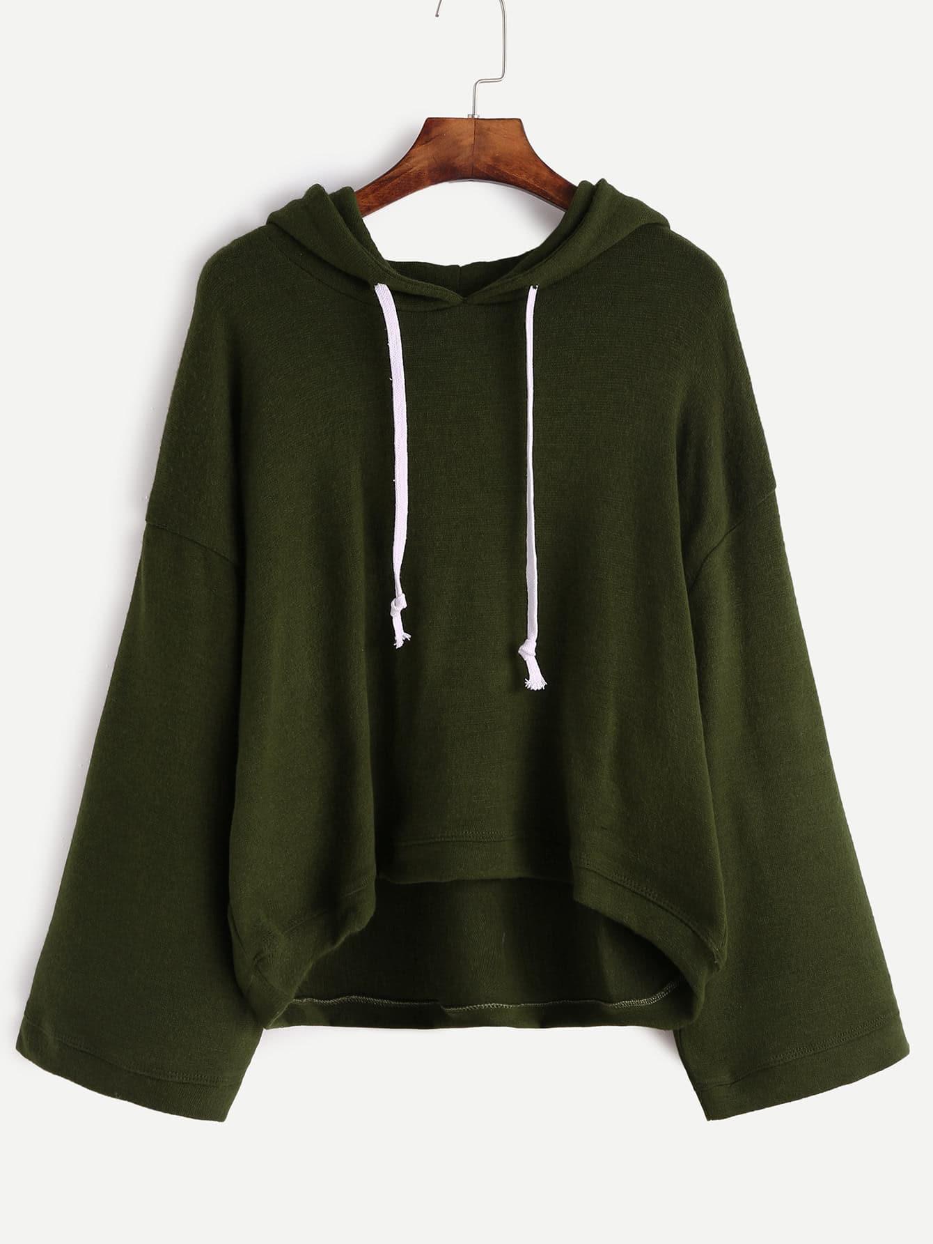 Dark Green Drop Shoulder Drawstring Hooded Sweater two tone drop shoulder sweatshirt