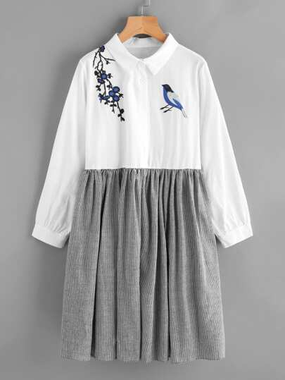 Embroidered Front Stripe Contrast Shirt Dress