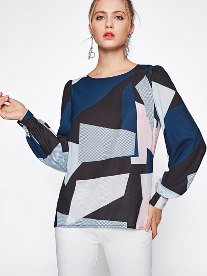 Color Block Bishop Sleeve Dip Hem Blouse