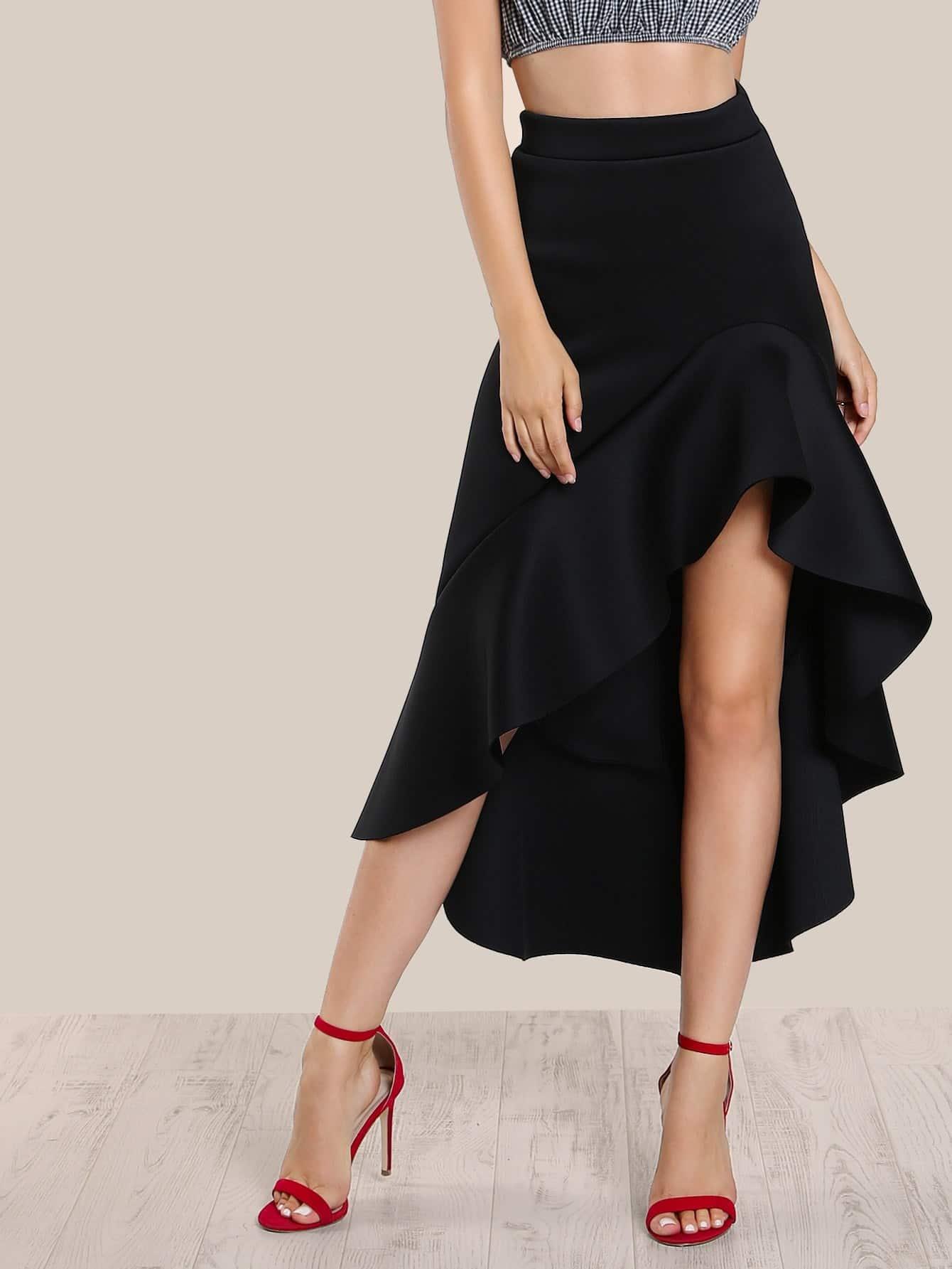 Ruffle Front Hi Lo Skirt