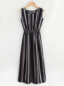 Barcode Stripe Elastic Waist Dress