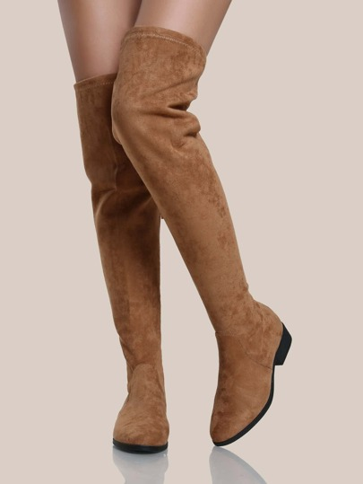 Faux Suede Over The Knee Boots TAN