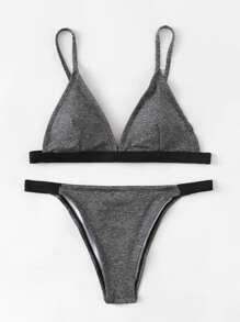Contrast Trim Triangle Bikini Set