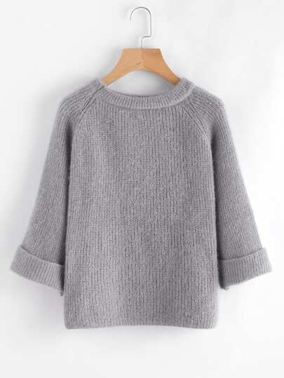 Cuffed Raglan Sleeve Sweater