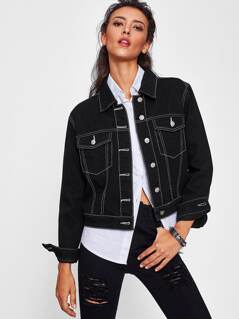 Contrast Topstitch Denim Jacket