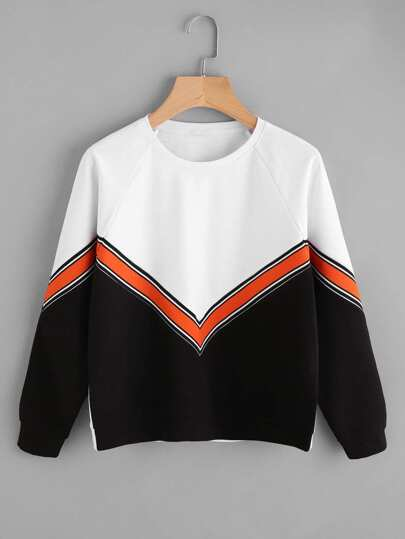 Raglan Sleeve Striped Tape Applique Chevron Pullover