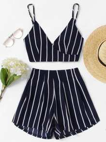 Stripe Surplice Bow Tie Open Back Crop Cami Top With Shorts