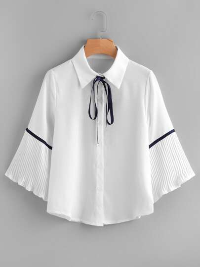 Pleated Sleeve Tape Detail Shirt