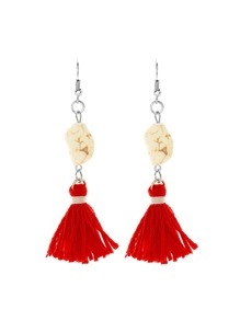 Tassel Drop Earrings With Stone Detail