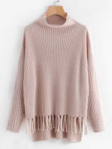 Staggered Knotted Fringe Hem Jumper