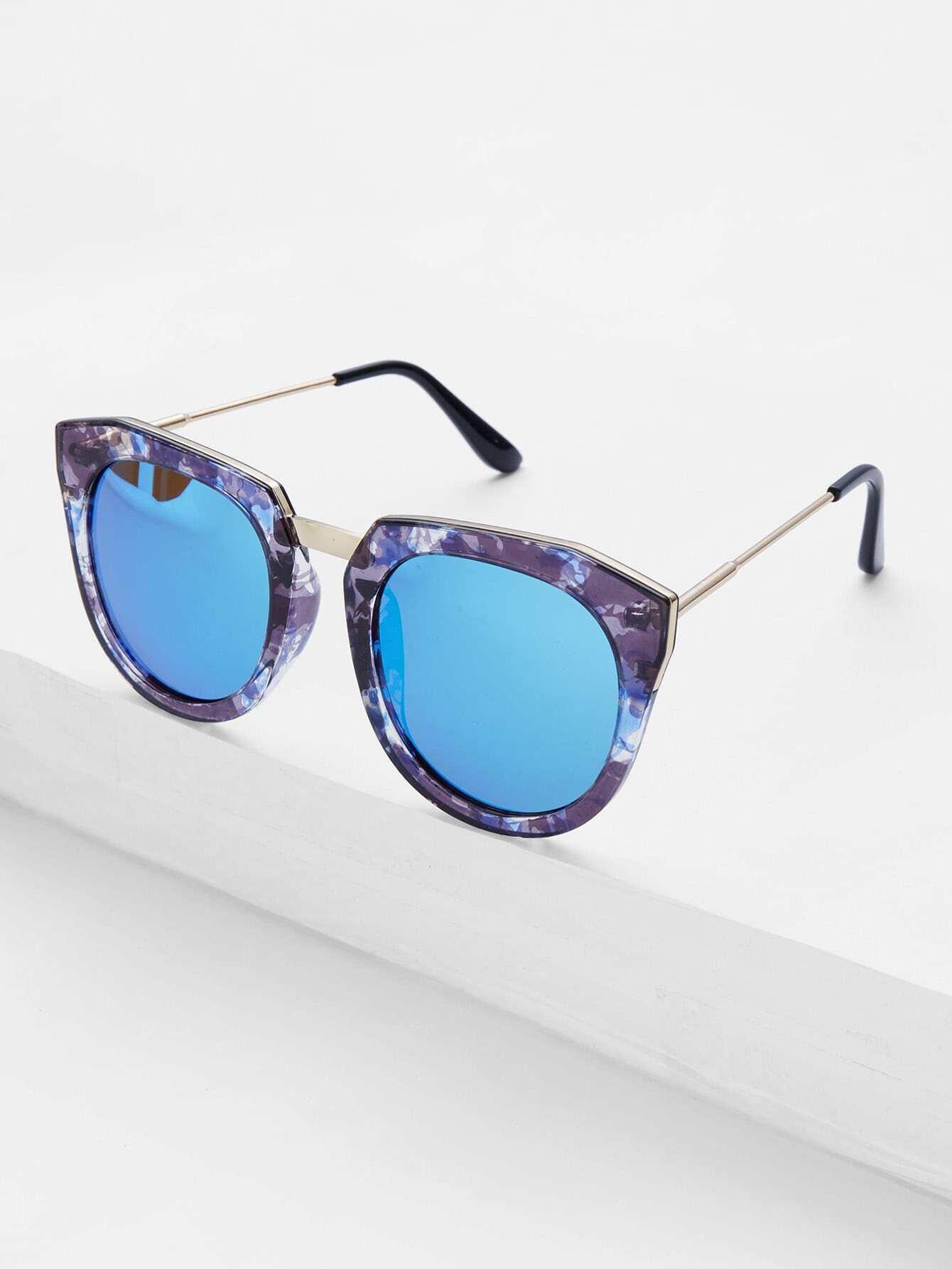 Metal Detail Flash Lens Sunglasses